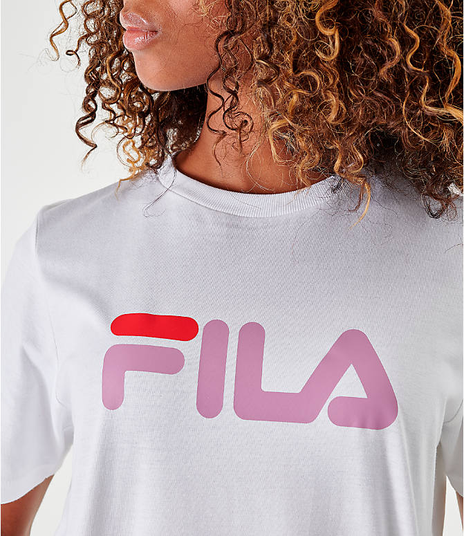 Back Right view of Women's Fila Miss Eagle T-Shirt in White/Pink/Red
