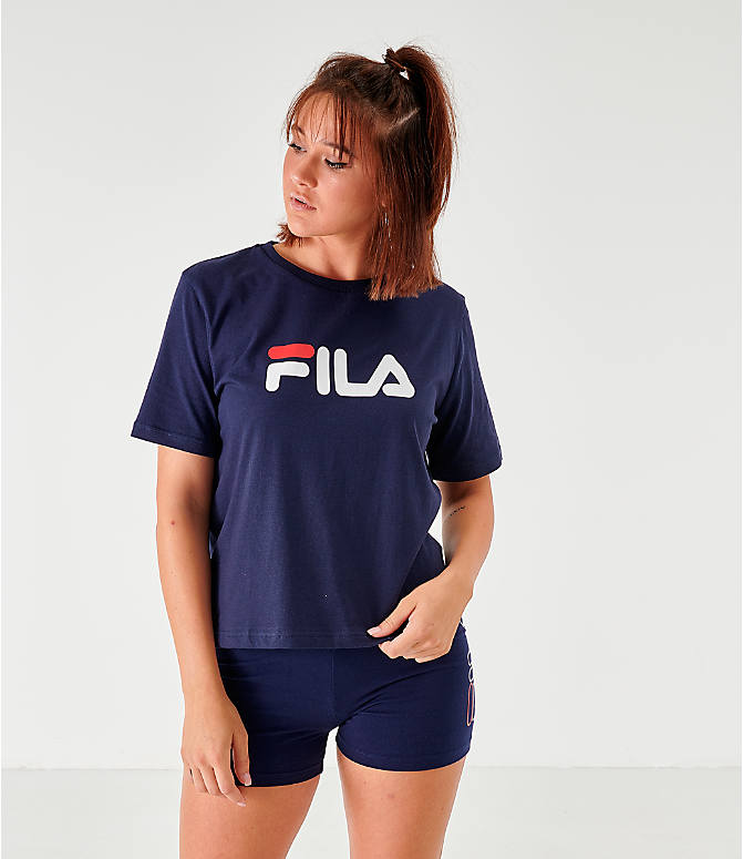 Front view of Women's Fila Miss Eagle T-Shirt in Navy/White/Red