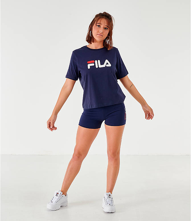 Front Three Quarter view of Women's Fila Miss Eagle T-Shirt in Navy/White/Red