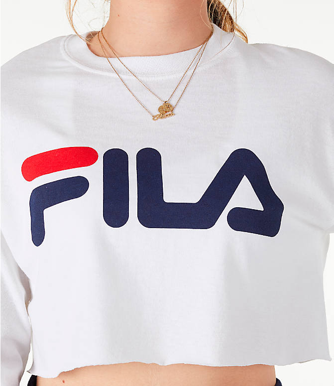 Detail 1 view of Women's Fila Colette Long-Sleeve Crop T-Shirt in White