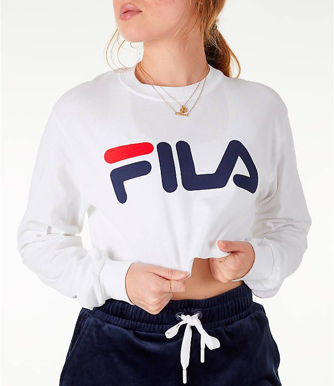Detail 2 view of Women's Fila Colette Long-Sleeve Crop T-Shirt in White