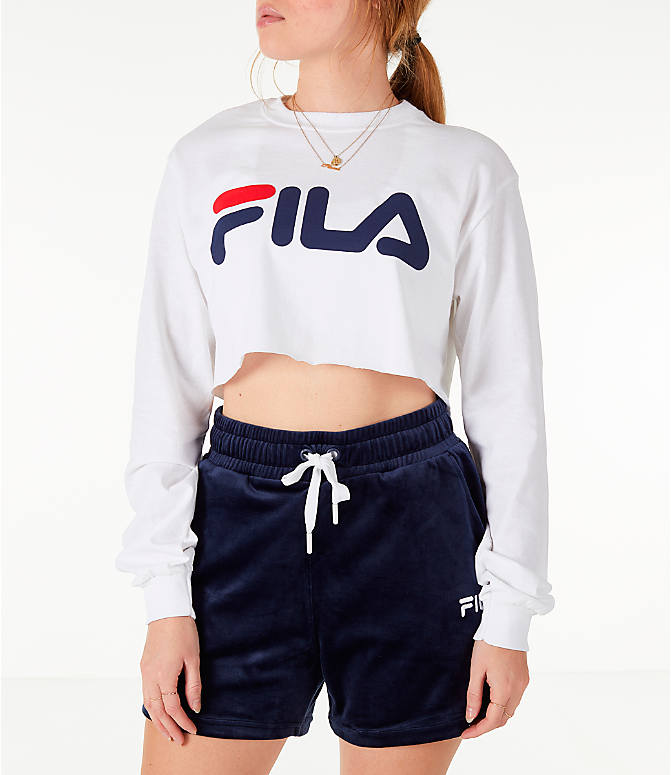 Front view of Women's Fila Colette Long-Sleeve Crop T-Shirt in White