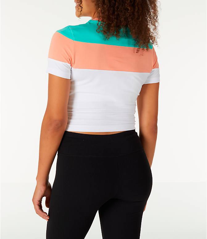 63a6dfe42e2c30 Back Left view of Women s Fila Maya Crop T-Shirt in White Green