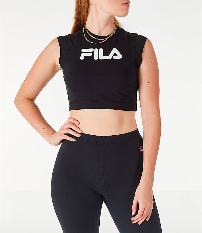 Front view of Women's Fila Pia Crop T-Shirt in Black/White