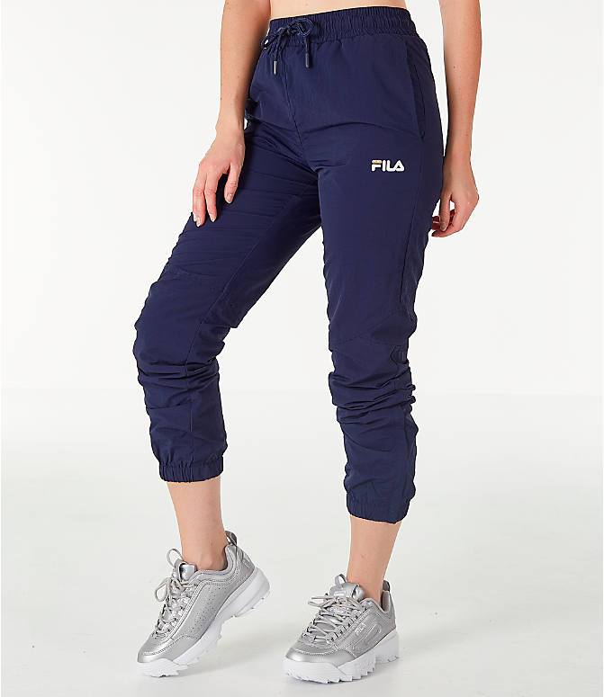 Front Three Quarter view of Women's Fila Isla Jogger Pants in Navy