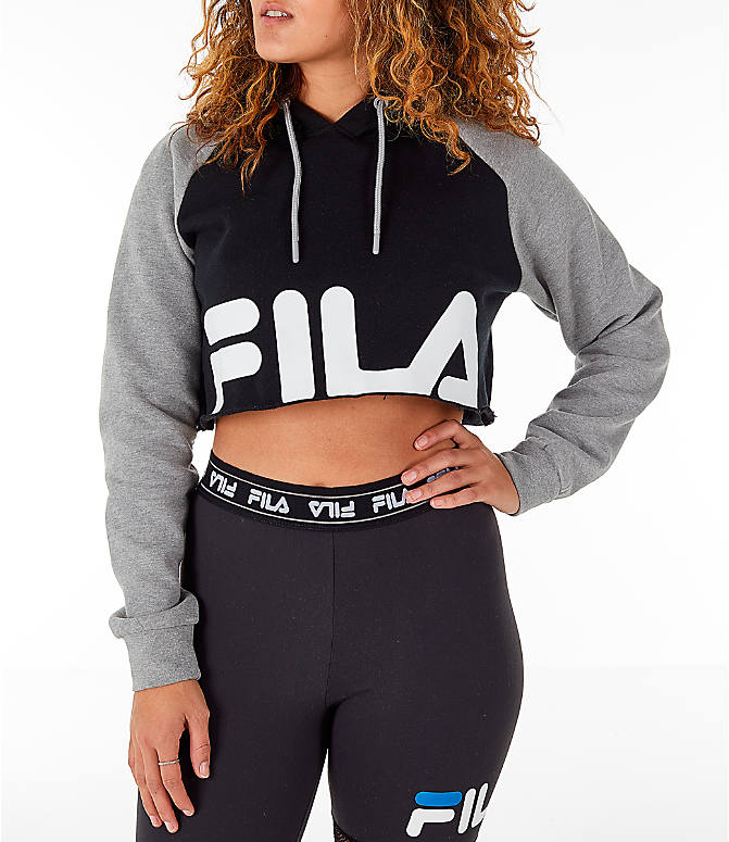 3a4f4653b0bf Front view of Women's Fila Luciana Hoodie in Black/Grey/White