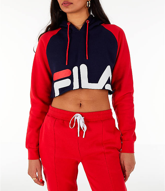 Front view of Women's Fila Luciana Hoodie in Red/White/Blue