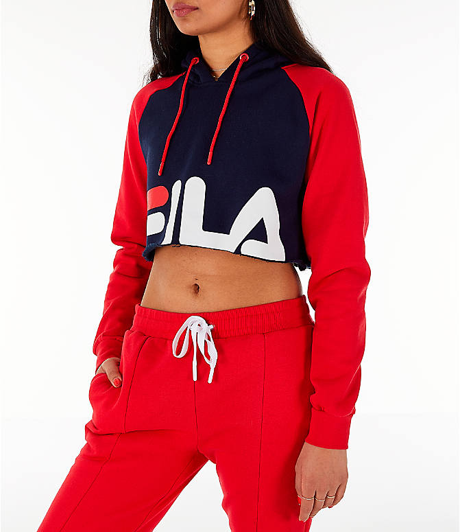 Front Three Quarter view of Women's Fila Luciana Hoodie in Red/White/Blue