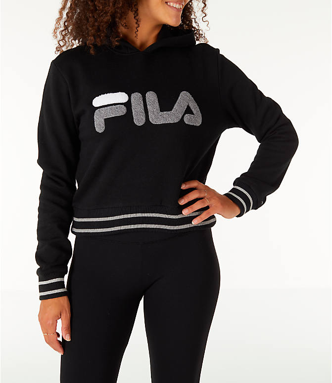 Front view of Women's Fila Rosemary Hoodie in Black/Grey