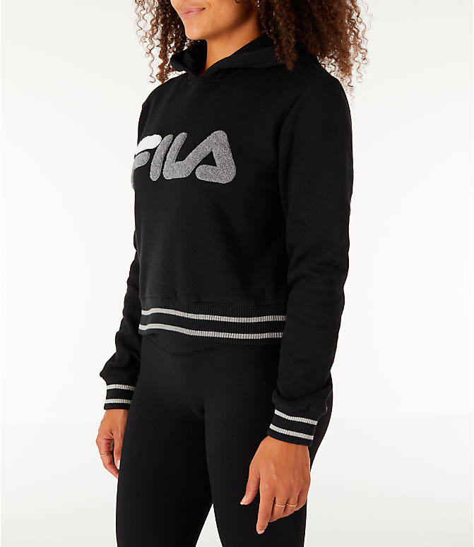 Front Three Quarter view of Women's Fila Rosemary Hoodie in Black/Grey