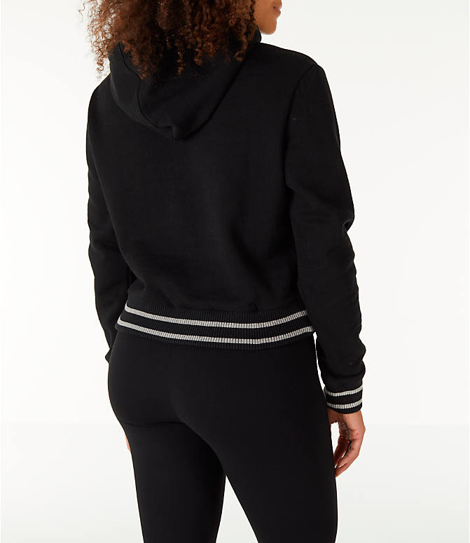 Back Right view of Women's Fila Rosemary Hoodie in Black/Grey