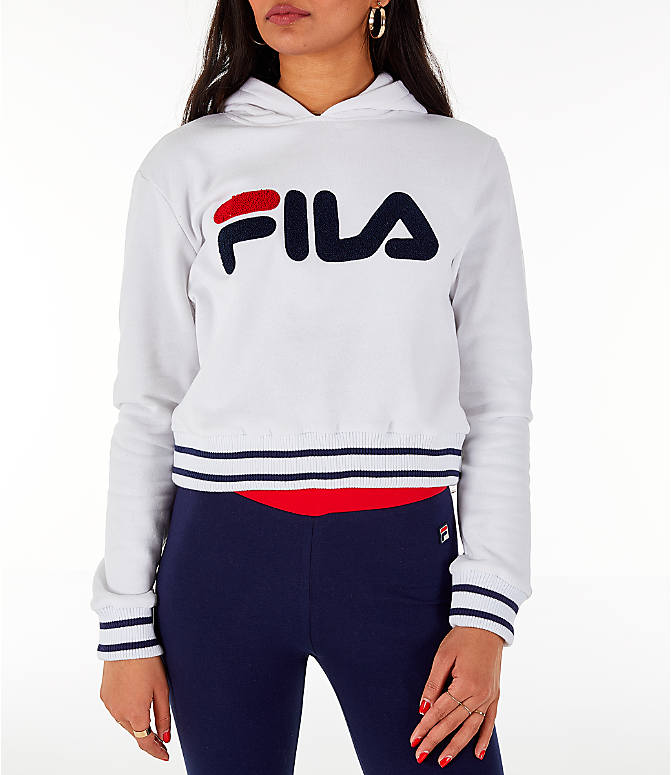 ef2017616107 Front view of Women's Fila Rosemary Hoodie in White/Blue/Red