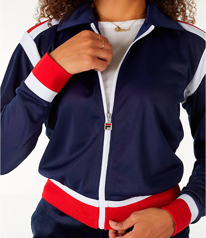 Detail 1 view of Women's Fila Lizzie Jacket in Navy/White