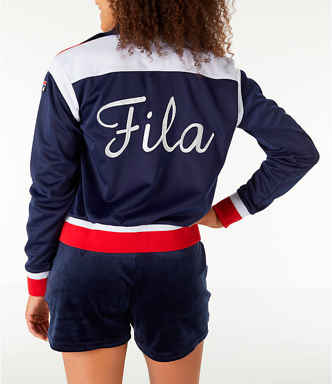 Front view of Women's Fila Lizzie Jacket in Navy/White