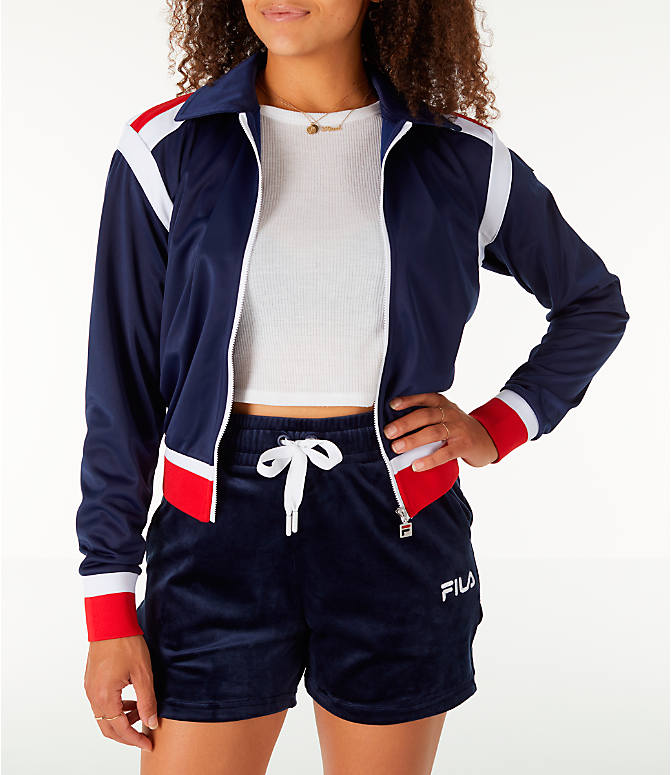 Front Three Quarter view of Women's Fila Lizzie Jacket in Navy/White
