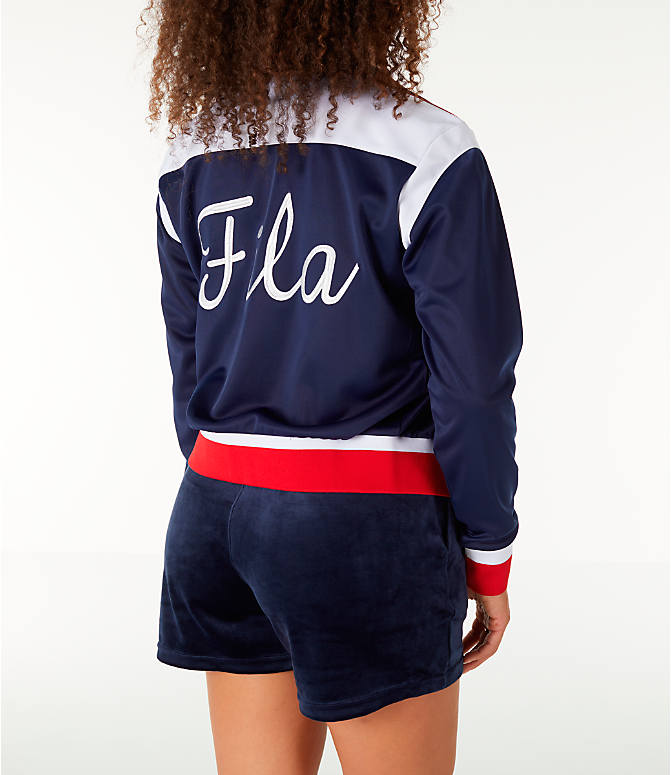 Back Right view of Women's Fila Lizzie Jacket in Navy/White