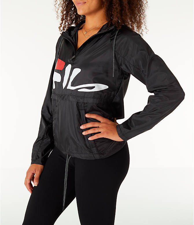 Front Three Quarter view of Women's Fila Chloe Wind Jacket in Black