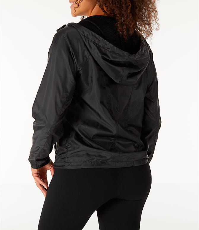 Back Left view of Women's Fila Chloe Wind Jacket in Black
