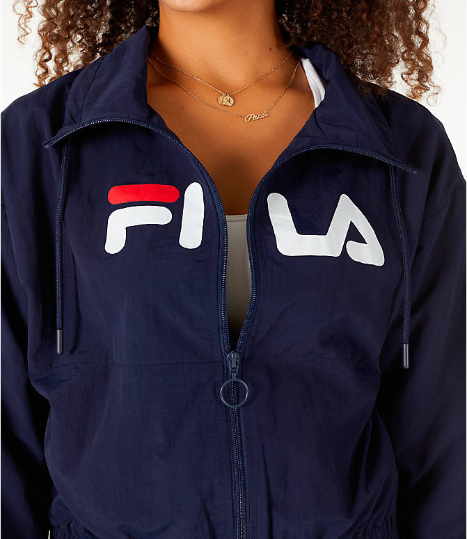 Detail 1 view of Women's Fila Natalie Full-Zip Wind Jacket in Navy/White