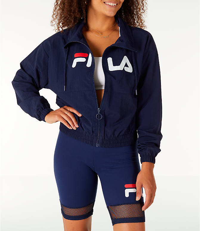 Front view of Women's Fila Natalie Full-Zip Wind Jacket in Navy/White