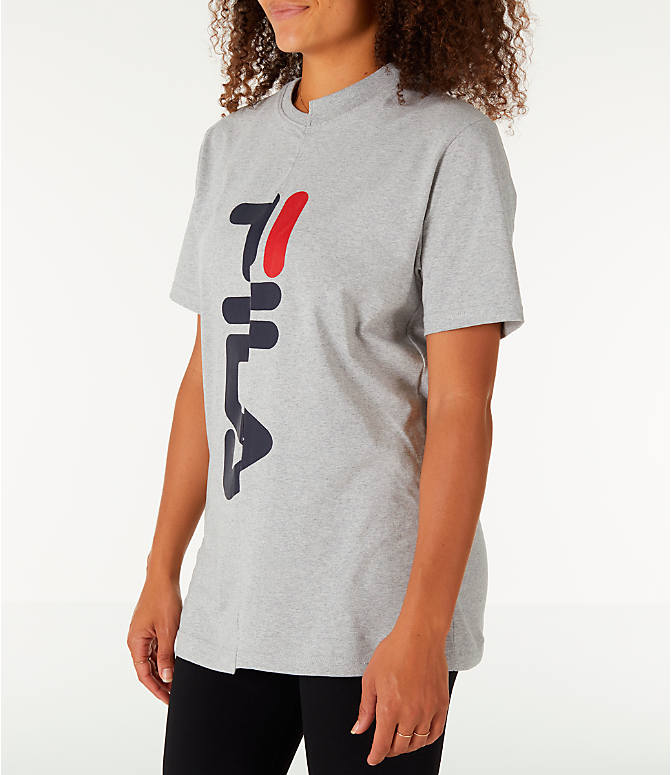 Front Three Quarter view of Women's Fila Teresa Spliced T-Shirt in Grey/Navy