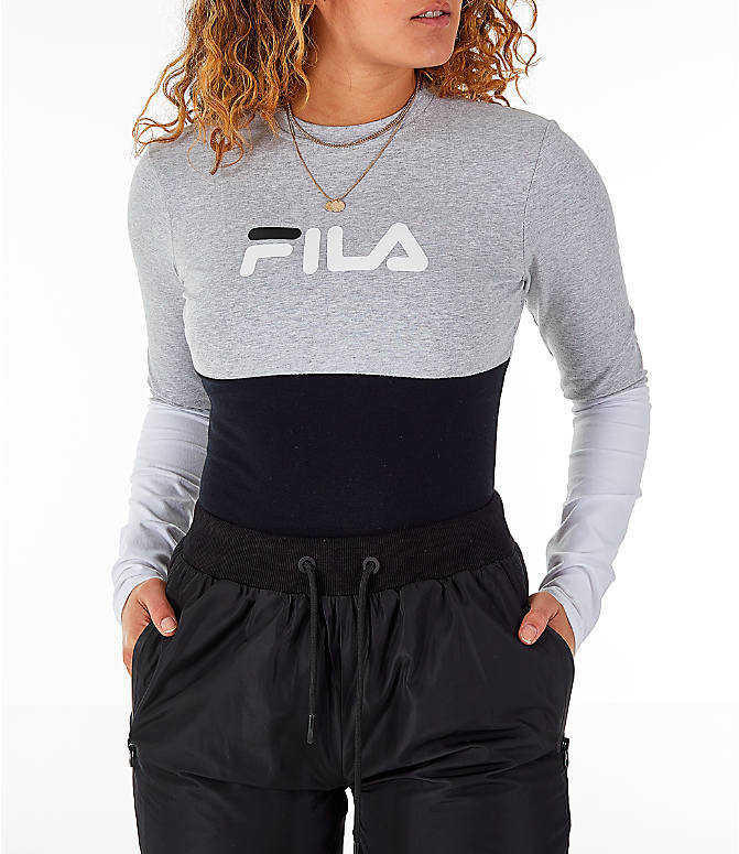 Detail 2 view of Women's Fila Elena Bodysuit in Black/Grey/White