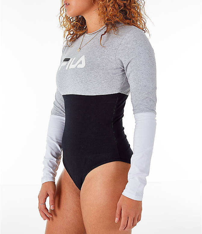 Front Three Quarter view of Women's Fila Elena Bodysuit in Black/Grey/White