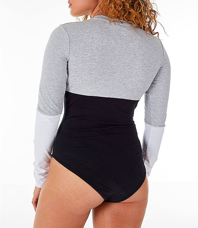 Back Left view of Women's Fila Elena Bodysuit in Black/Grey/White