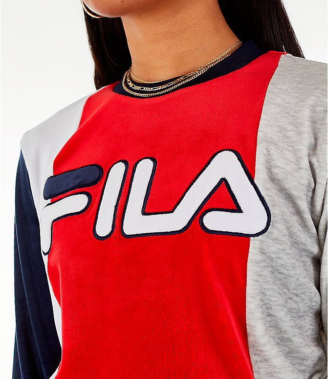 Detail 1 view of Women's Fila Antonietta Crop Velour Sweatshirt in Red/White/Blue