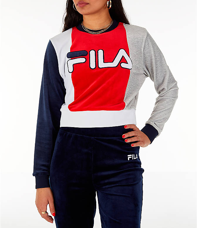 Front view of Women's Fila Antonietta Crop Velour Sweatshirt in Red/White/Blue