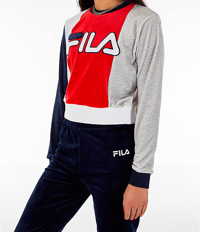 Front Three Quarter view of Women's Fila Antonietta Crop Velour Sweatshirt in Red/White/Blue