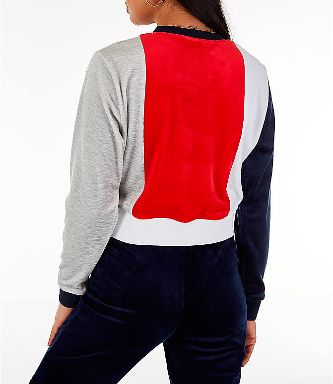 Back Left view of Women's Fila Antonietta Crop Velour Sweatshirt in Red/White/Blue