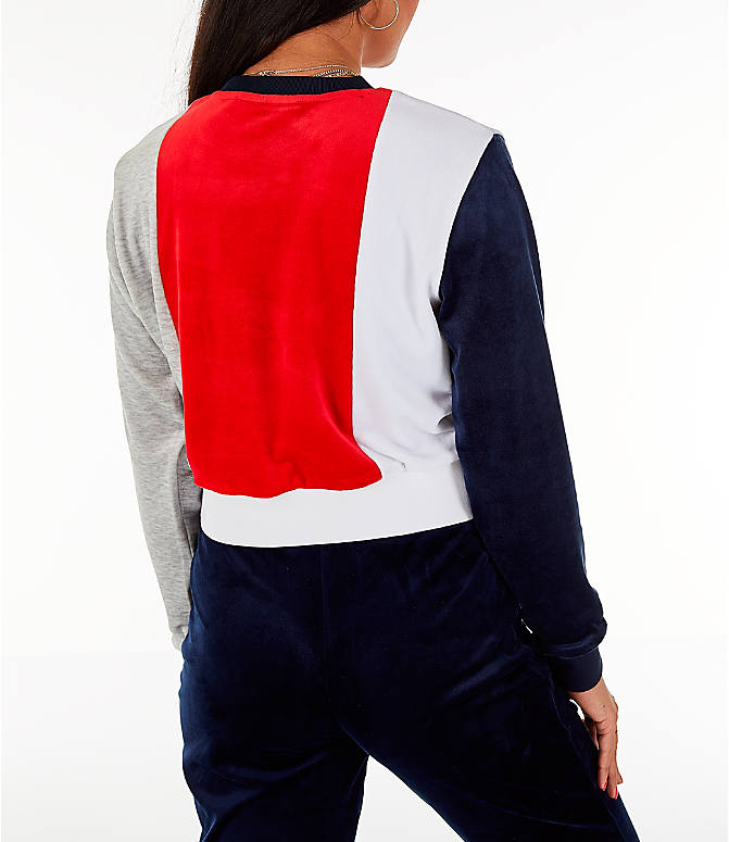 Back Right view of Women's Fila Antonietta Crop Velour Sweatshirt in Red/White/Blue