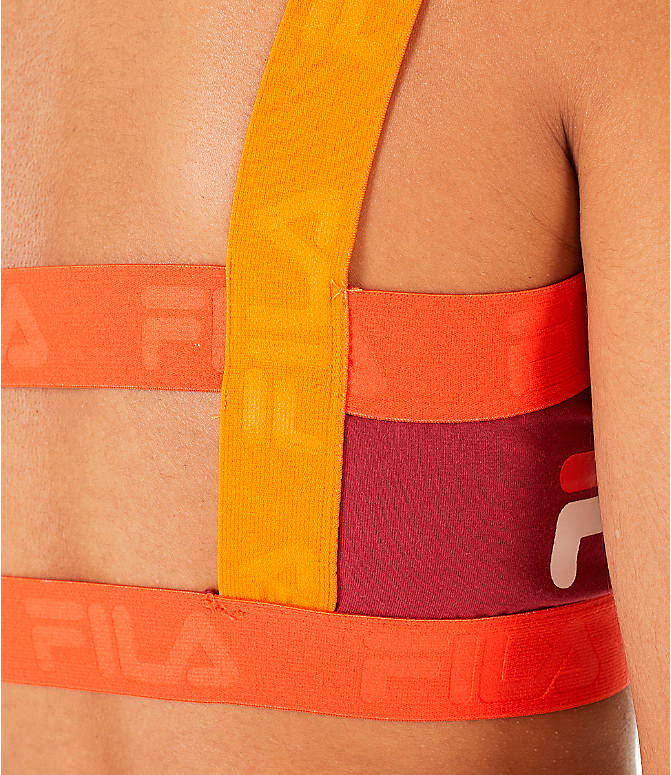 Detail 2 view of Women's Fila Stella Colorblock Bralette in Tibetan Red/Orange/Cherry