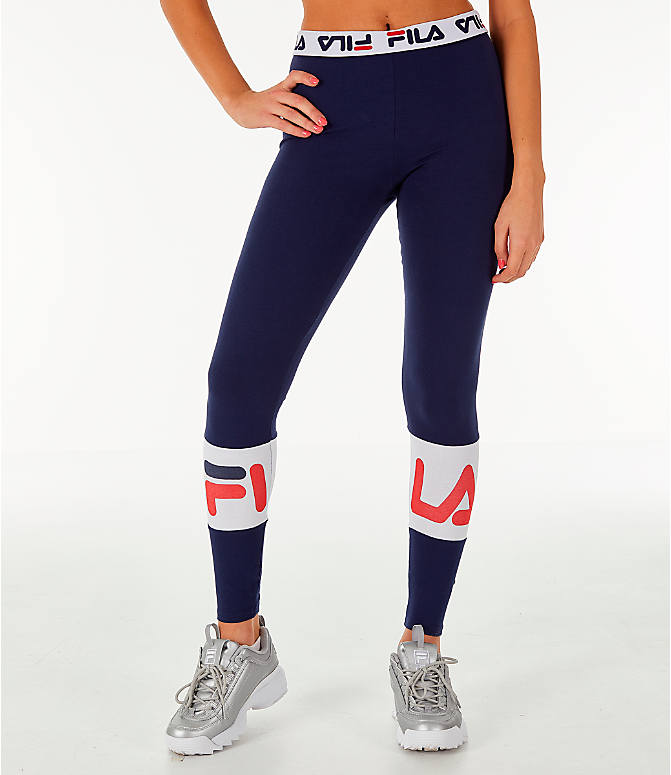 Front view of Women's Fila Dina Leggings in Navy/White/Red