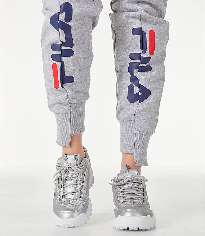 Detail 1 view of Women's Fila Alessia Reconstructed Fleece Jogger Sweatpants in Heather Grey