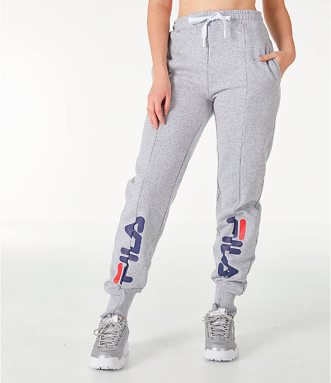 Front view of Women's Fila Alessia Reconstructed Fleece Jogger Sweatpants in Heather Grey