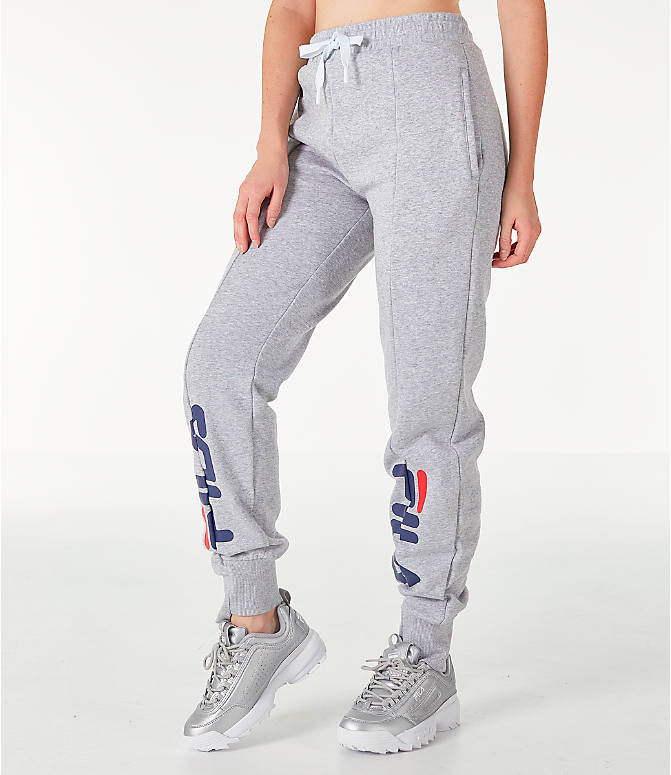 Front Three Quarter view of Women's Fila Alessia Reconstructed Fleece Jogger Sweatpants in Heather Grey