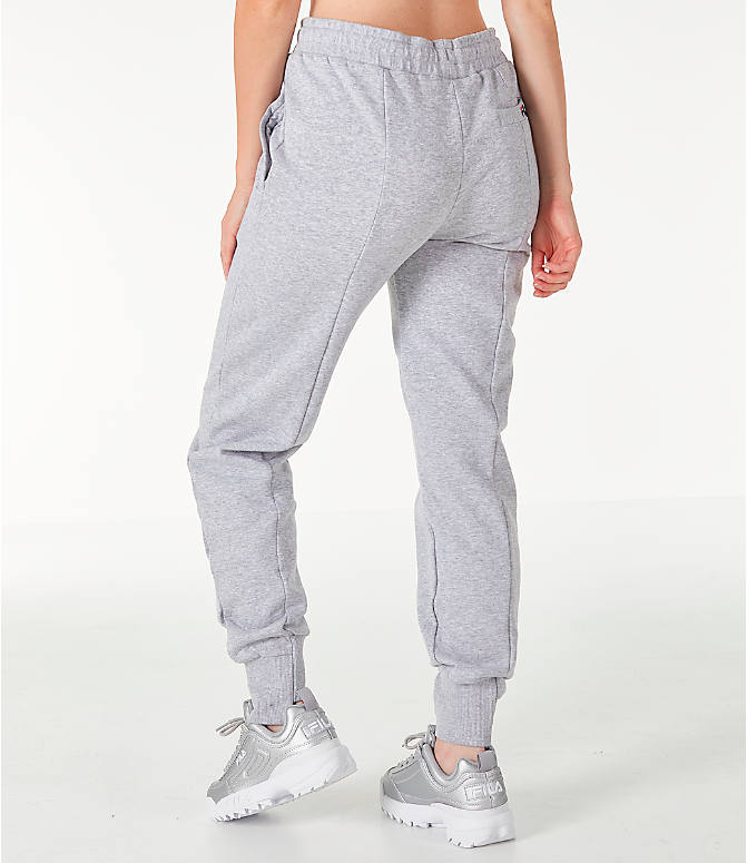 Back Left view of Women's Fila Alessia Reconstructed Fleece Jogger Sweatpants in Heather Grey