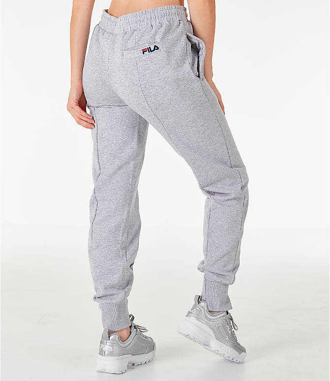 Back Right view of Women's Fila Alessia Reconstructed Fleece Jogger Sweatpants in Heather Grey