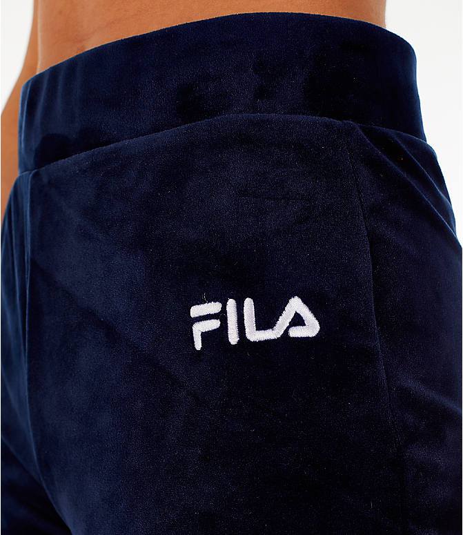 Detail 1 view of Women's Fila Sara Velour Jogger Pants in Navy