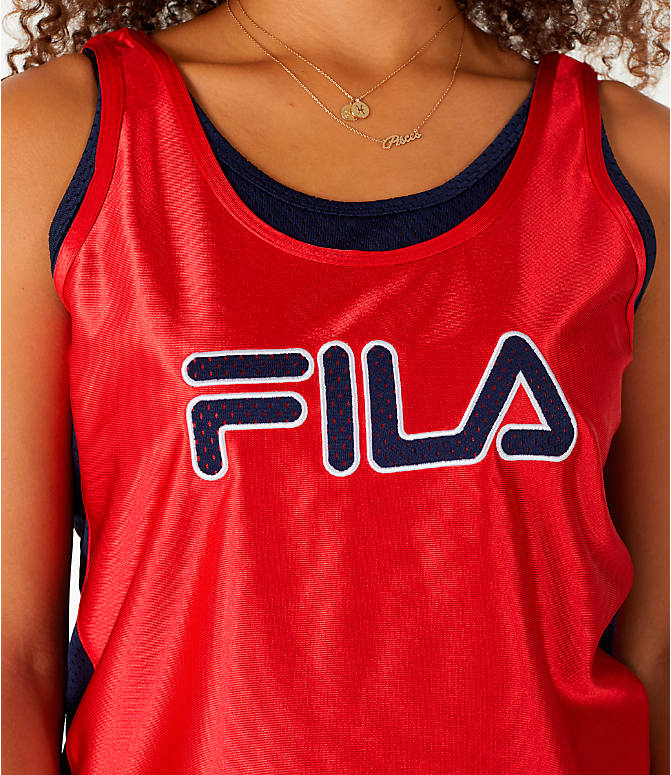Detail 1 view of Women's Fila Stefania Tank in Red/Navy