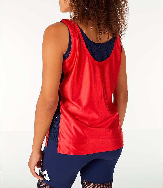 Back Left view of Women's Fila Stefania Tank in Red/Navy