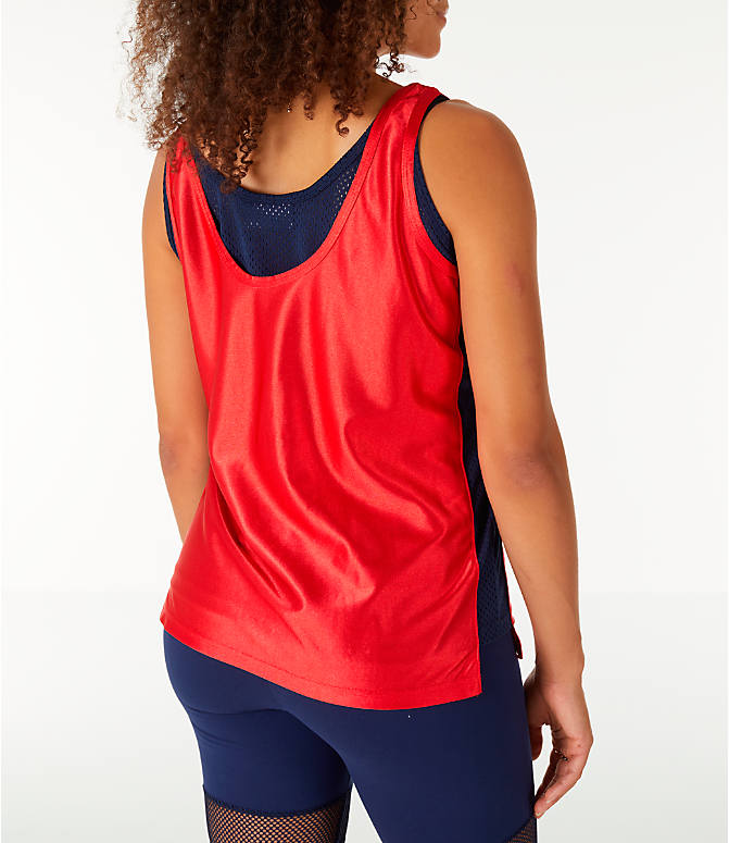 Back Right view of Women's Fila Stefania Tank in Red/Navy