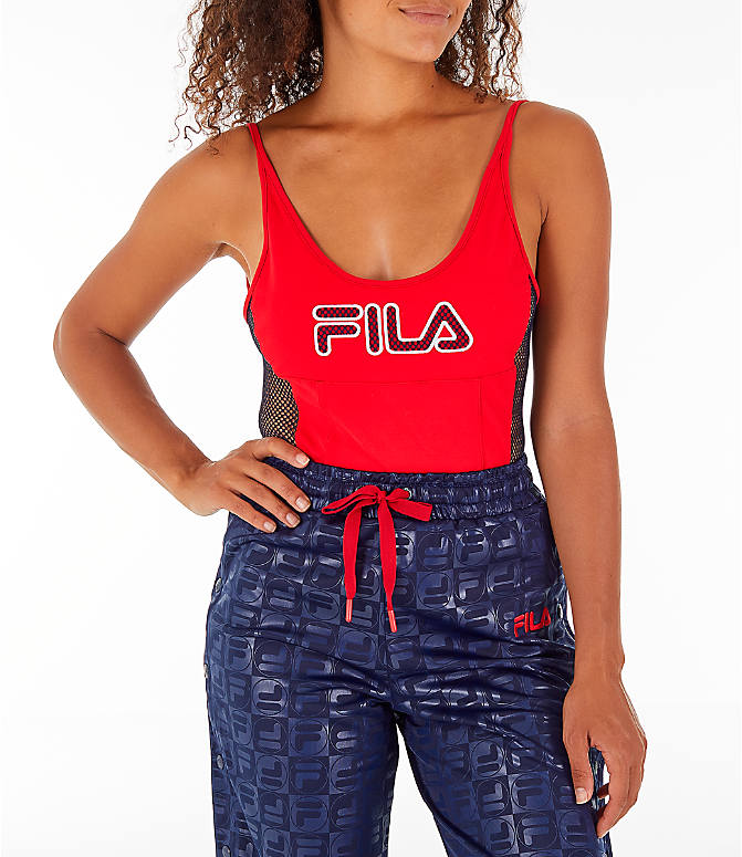 Detail 2 view of Women's Fila Nadia Bodysuit in Red/Black