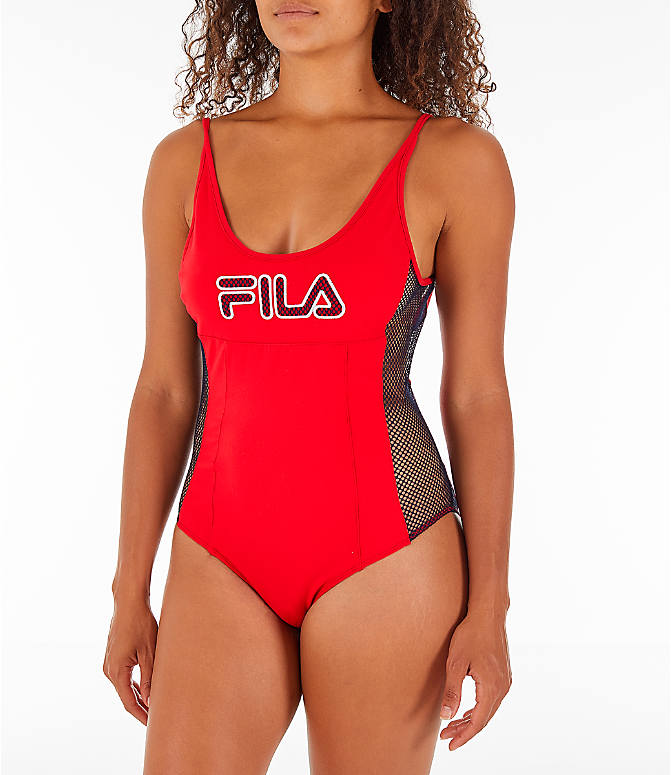 Front view of Women's Fila Nadia Bodysuit in Red/Black