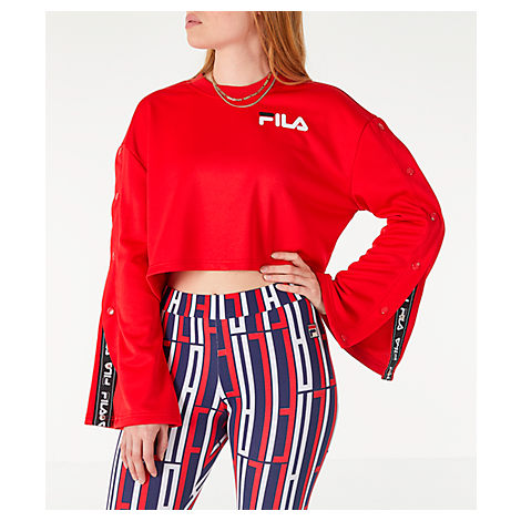 Fila Tops WOMEN'S AURORA FLARED CROP SWEATSHIRT, RED