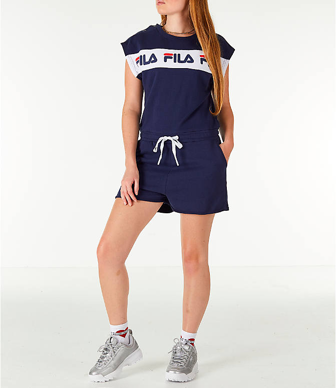 Front view of Women's Fila Costanza Romper in Navy