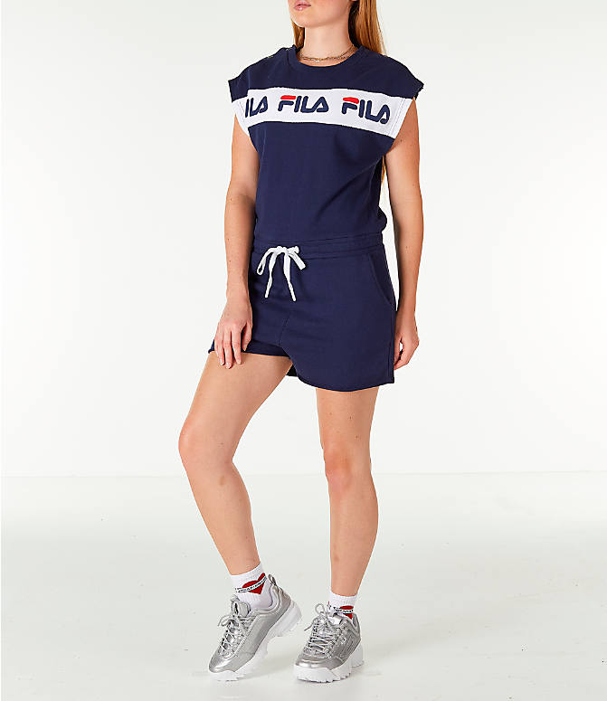 Front Three Quarter view of Women's Fila Costanza Romper in Navy