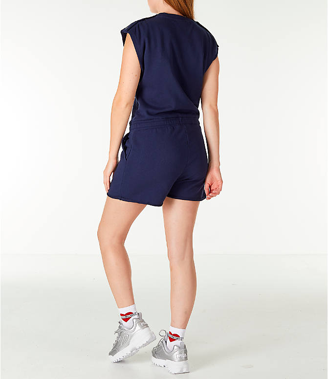 Back Left view of Women's Fila Costanza Romper in Navy